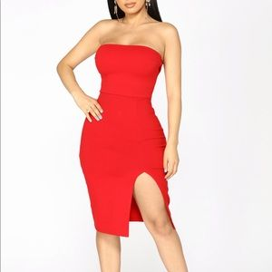 FASHION NOVA TUBE DRESS - RED